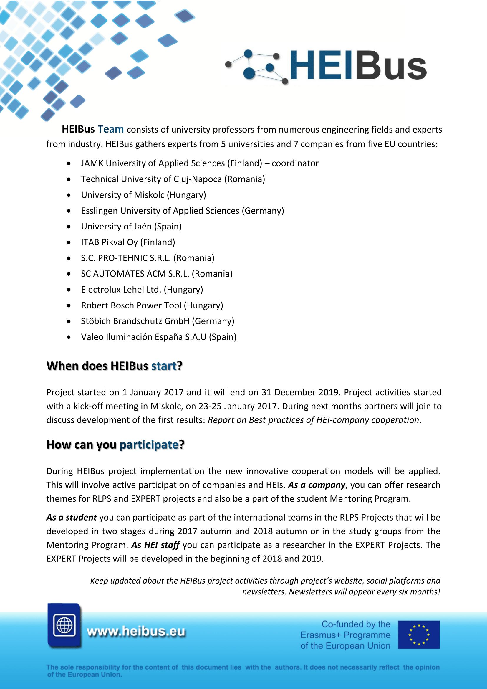 First HEIBus Newsletter 2